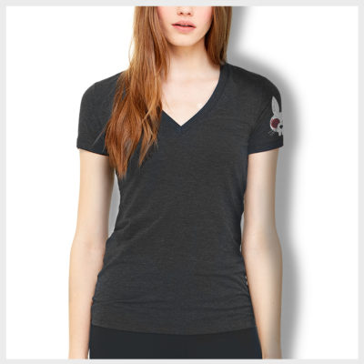 Distressed Logo Women's V Neck Front 420 Apparel by Mad Toto