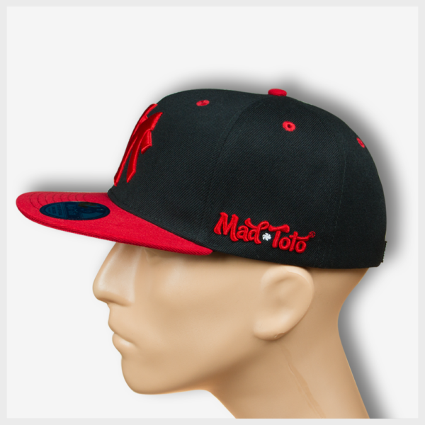 MT Black Snapback (Red) Left View 420 Mad Toto Apparel