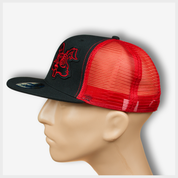 Toto Patch Trucker Snapback Red/Black Left View Mad Toto 420 Apparel