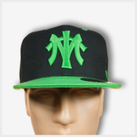 MT Black Snapback (Green) Front View 420 Mad Toto Apparel