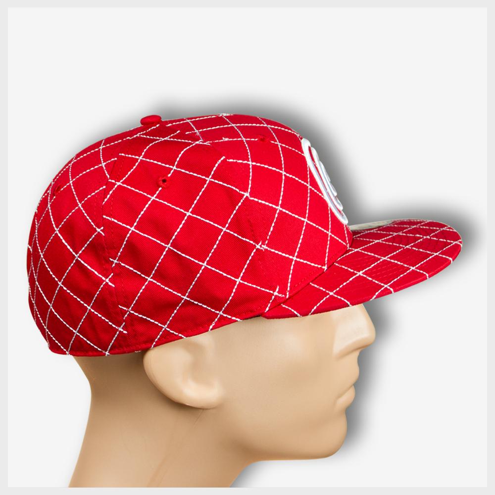 7902bb81328 Toto Red Crisscross Flat Brim Fitted Hat - Toto Headgear